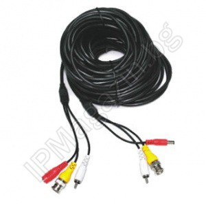 Ready cable for video surveillance, audio, BNC, power supply, 10m