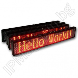 Dynamic, programmable, LED display for advertising, 28x100cm, 32x128 pixels, indoor mounting, red LEDs