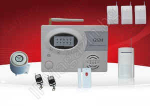 IP-AP007-4 - wireless, GSM alarm for home, 4 volumetric motion sensors, 1 door MIC (panic button), 2 remote