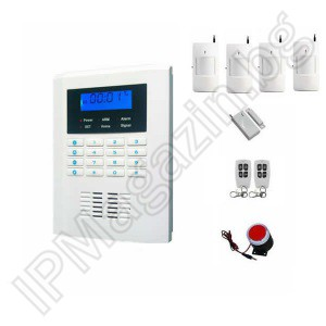 "IP-AP021-4 - wireless, GSM alarm for home, 2.1 ""LCD, keyboard, 4 volt sensors, 1 MUX, 2 remote"