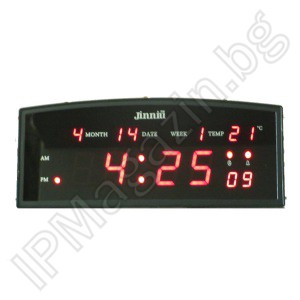 IP-LD-2410 - Digital, diode, desktop, LED clock, indoor mounting, with thermometer, 220V, 24x10x4cm