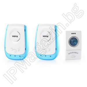 IPWD010 - wireless doorbell, with 2 receivers, for entrance door, for home, 38 polyphonic melodies, 220V