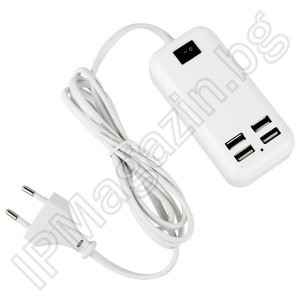 15W, USB charger, coupler, with 4 USB outputs