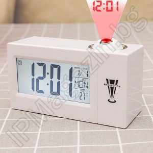 Digital, diode, desktop, projection, LED clock, indoor mounting, with thermometer, batteries, 14x8x5.5cm