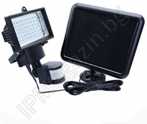 Solar, LED projector, 60 diodes, with PIR motion sensor, outdoor installation