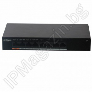 PFS3008-8GT-60 - 8 портов, Gigabit, Layer 2, POE комутатор DAHUA