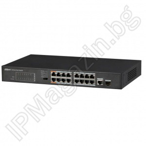 PFS3117-16ET-135 - 18 портов, 16 порта х 10/100, 2 Gigabit, Layer 2, POE комутатор DAHUA