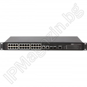 PFS4226-24ET-240 - 28 port, 24 ports 10/100 POE, 2 Combo Gigabit, 2 Combo Gigabit SFP, manageable, Layer 2, DAHUA, a manageable POE switch