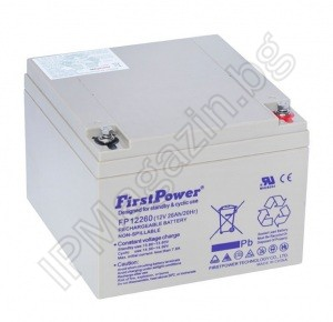 FP12260  - First Power, акумулаторна батерия, 12V, 26Ah, T8