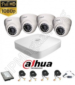 KIT4-7 - 2MP 1080P FullHD, DAHUA surveillance kit, contains 1 DVR XVR5104C-X1, and 4 external dome cameras, HAC-HDW1200M-0360B-S4 (3.6mm, 30m), HDD 1TB 24/7,