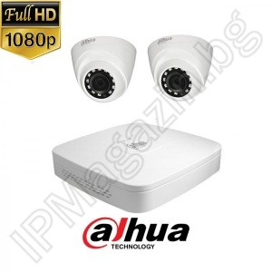 KIT2-3 - 2MP 1080P FullHD, Watch set DAHUA, contains DVR XVR5104C-X1, and 2 outdoor dome cameras, HAC-HDW1200M-0360B-S4 (3.6mm, 30m)