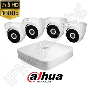 KIT4-8 - 2MP 1080P FullHD, Watch set DAHUA, contains DVR XVR5104C-X1, and 4 external dome cameras, HAC-T2A21-0280B (2.8mm, 20m)