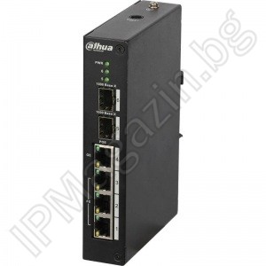 PFS4206-4P-96 - 6 port, 3 port 10/100 POE, 1 Gigabit port, 2 Gigabit optical ports, manageable, Layer 2, DAHUA, a manageable POE switch